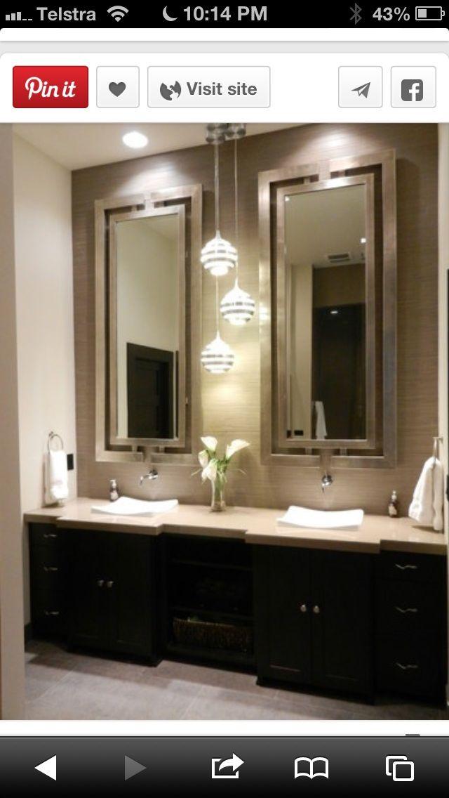 2 Mirrors Or Just One Big One Dark Wood Bathroom Wood Bathroom Vanity Bathroom Design