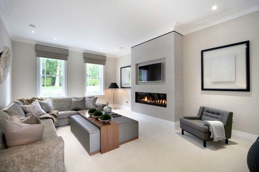 Modern Fireplace With Tv Above Living Room Contemporary With Grey Armchair Corner Sofa
