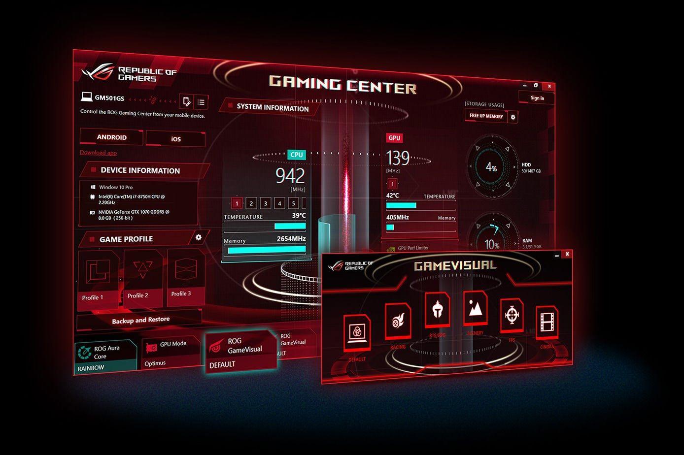 Asus ROG gaming center - Google 搜尋 | UI Design | Audio, UI