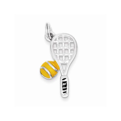 Sterling Silver Enameled Tennis Racquet Charm