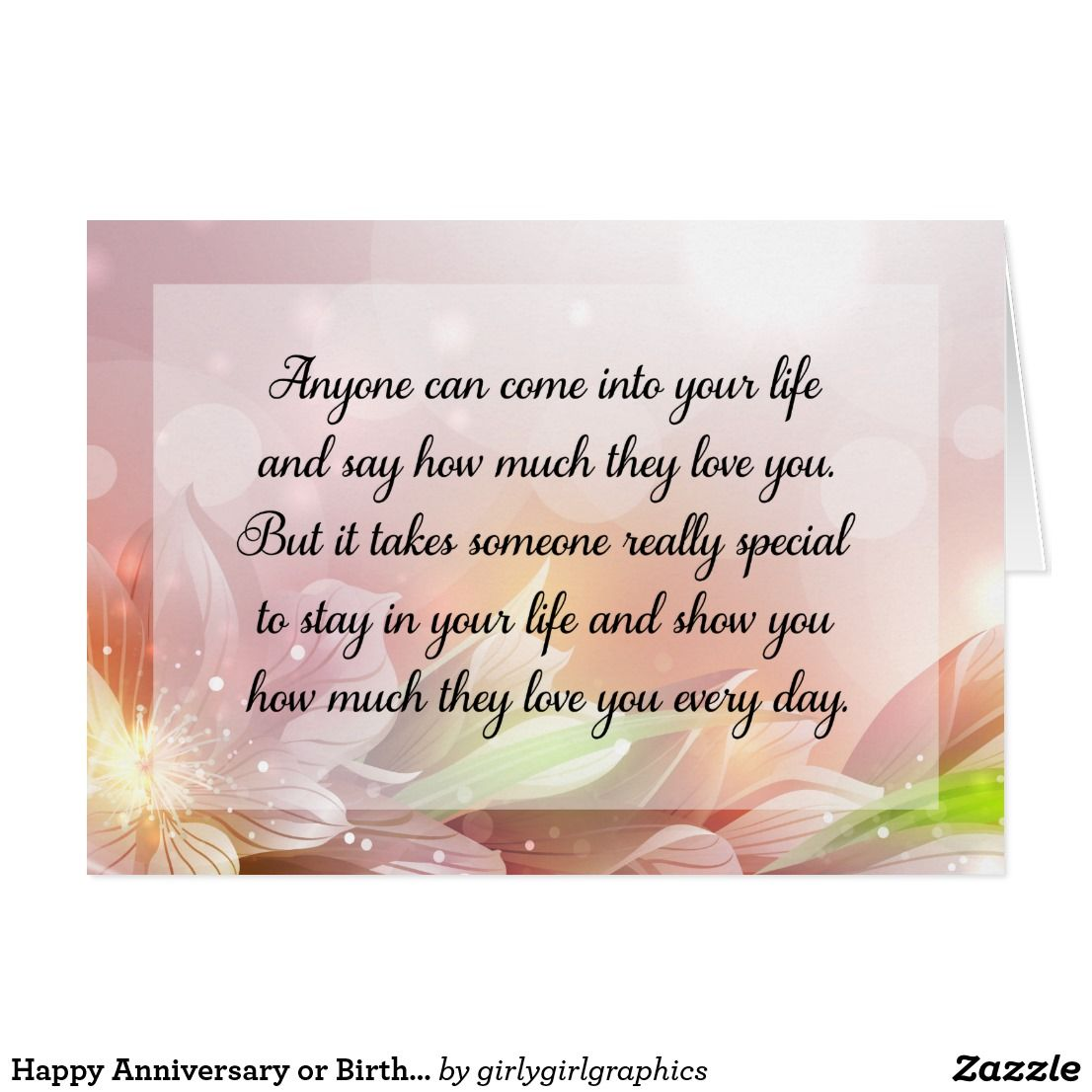 Happy Anniversary Or Birthday Love Quote Card Cards Pinterest