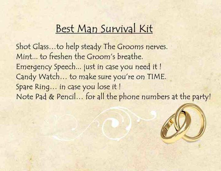 Funny Best Man Survival Kit Poem