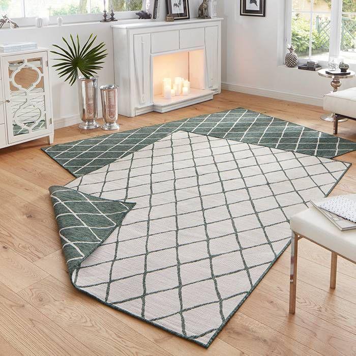 Vul jouw tuin óf woonkamer aan met een vloerkleed Twin Lines - Groen ...