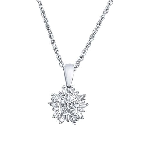 Diamond Cluster Snowflake Pendant Necklace In 10k White Gold 0 25 Carats Bridal Accessories Jewelry Sterling Silver Pendants Diamond