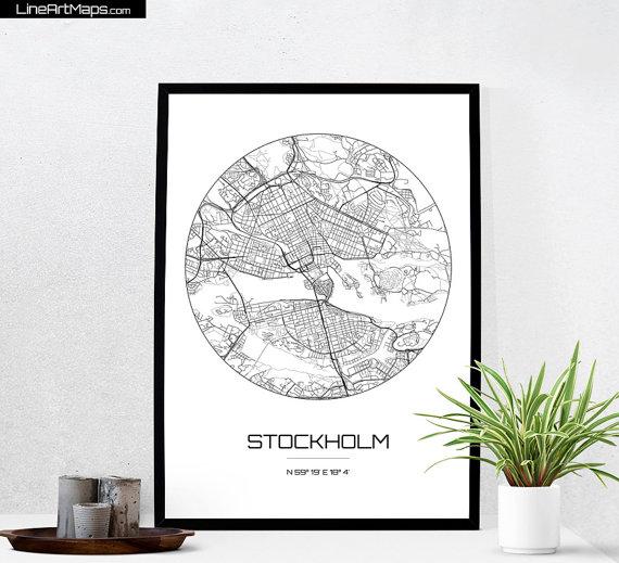 Stockholm Map Print City Map Art Of Stockholm Sweden Poster - Sweden map coordinates