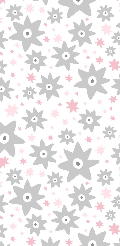 Grey And Pink Star Bursts Babies Nursery Wallpaper Pattern