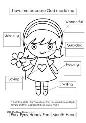 image about Sunday School Printable Worksheets titled Released God designed me worksheet - Totally free ESL printable