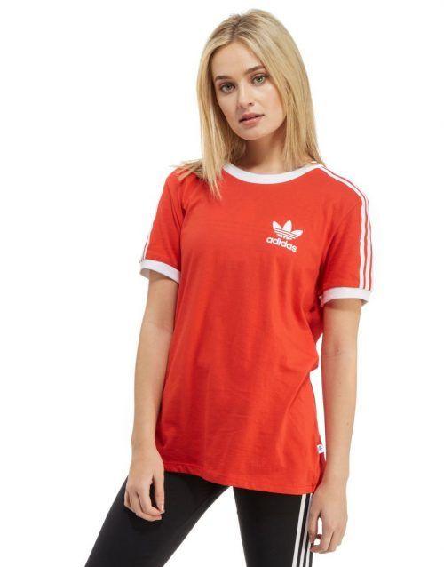 adidas Originals California T-Shirt – Red White – Womens  19f346469aaa