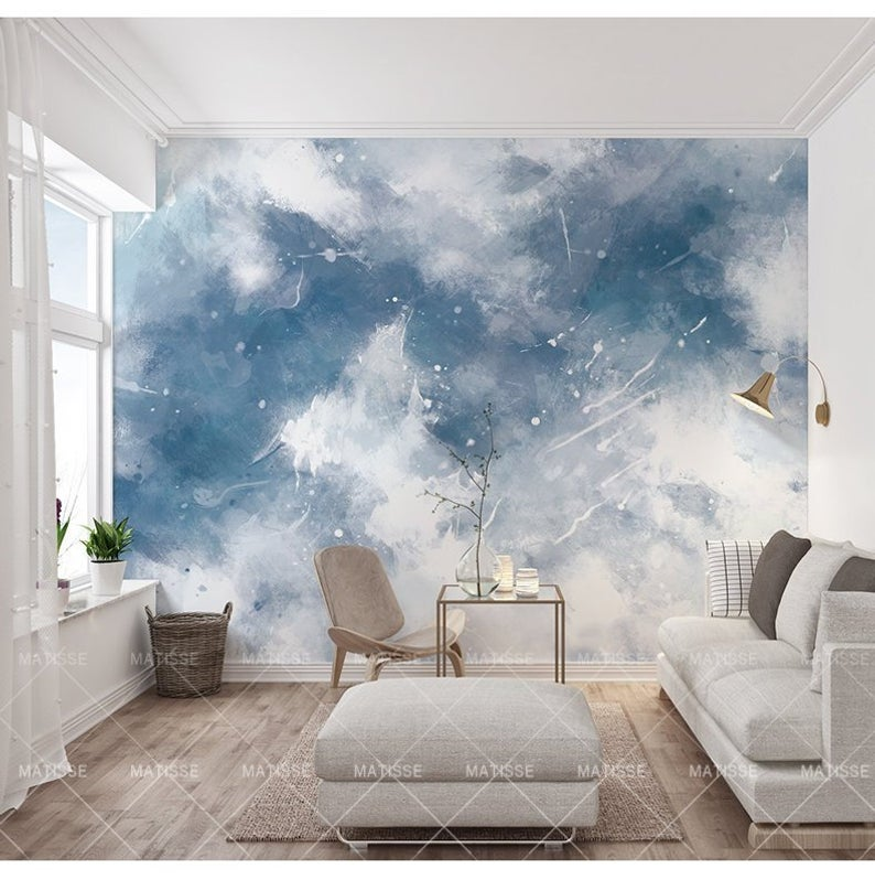 Abstract Handpainted Blue Color Sky Wallpaper Blue And White Etsy Bedroom Wall Paint Wall Murals White Sky