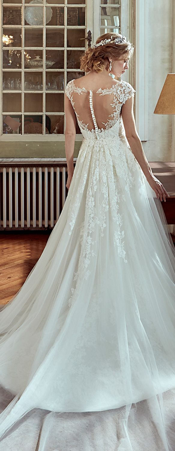 Nicole Ivory mermaid gown, in tulle with embroidered beading lace ...