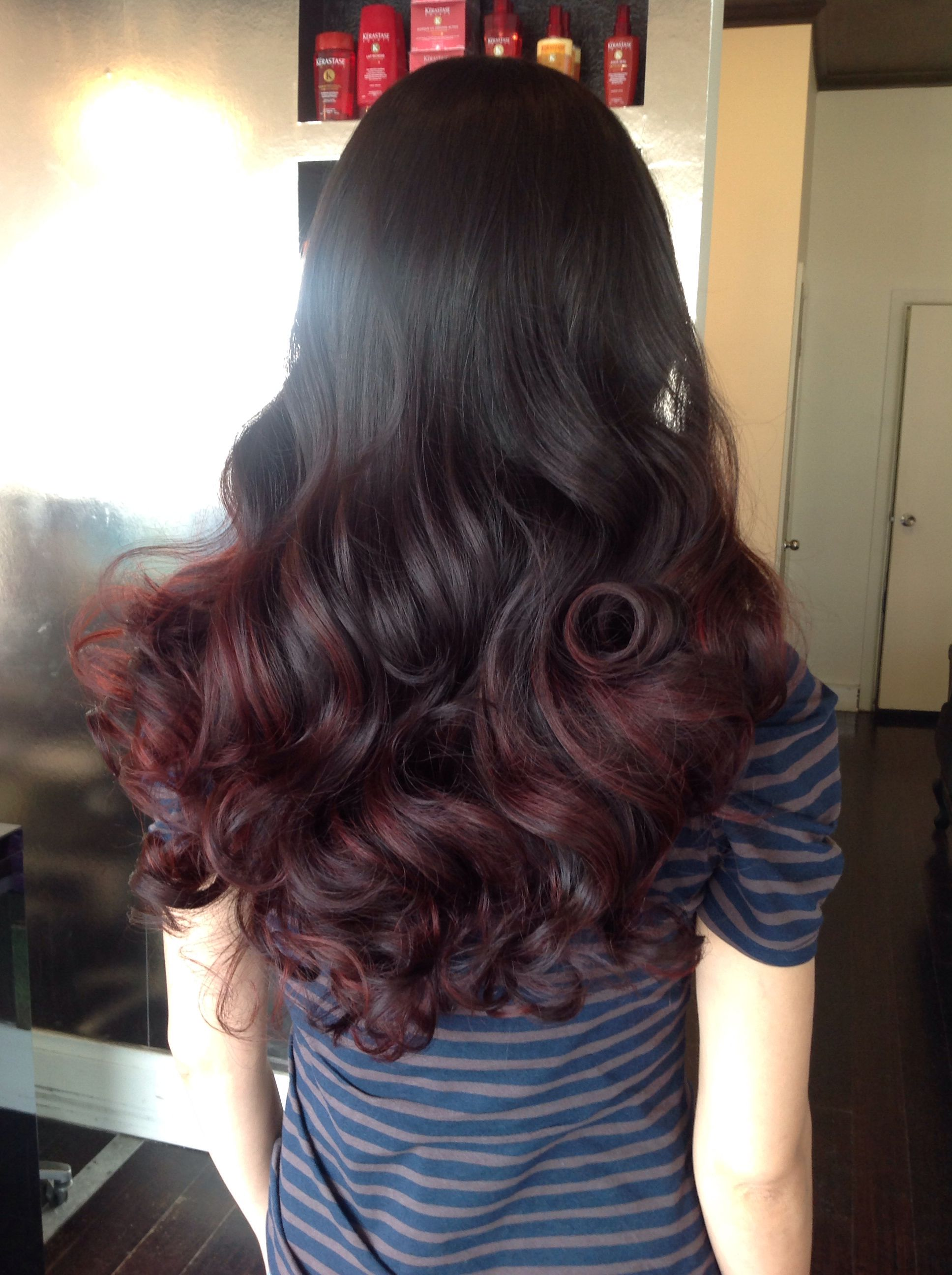 Pin By Cocohoney Salon On Cocohoney Salon Dark Red Hair Light Brown Balayage Hair Styles