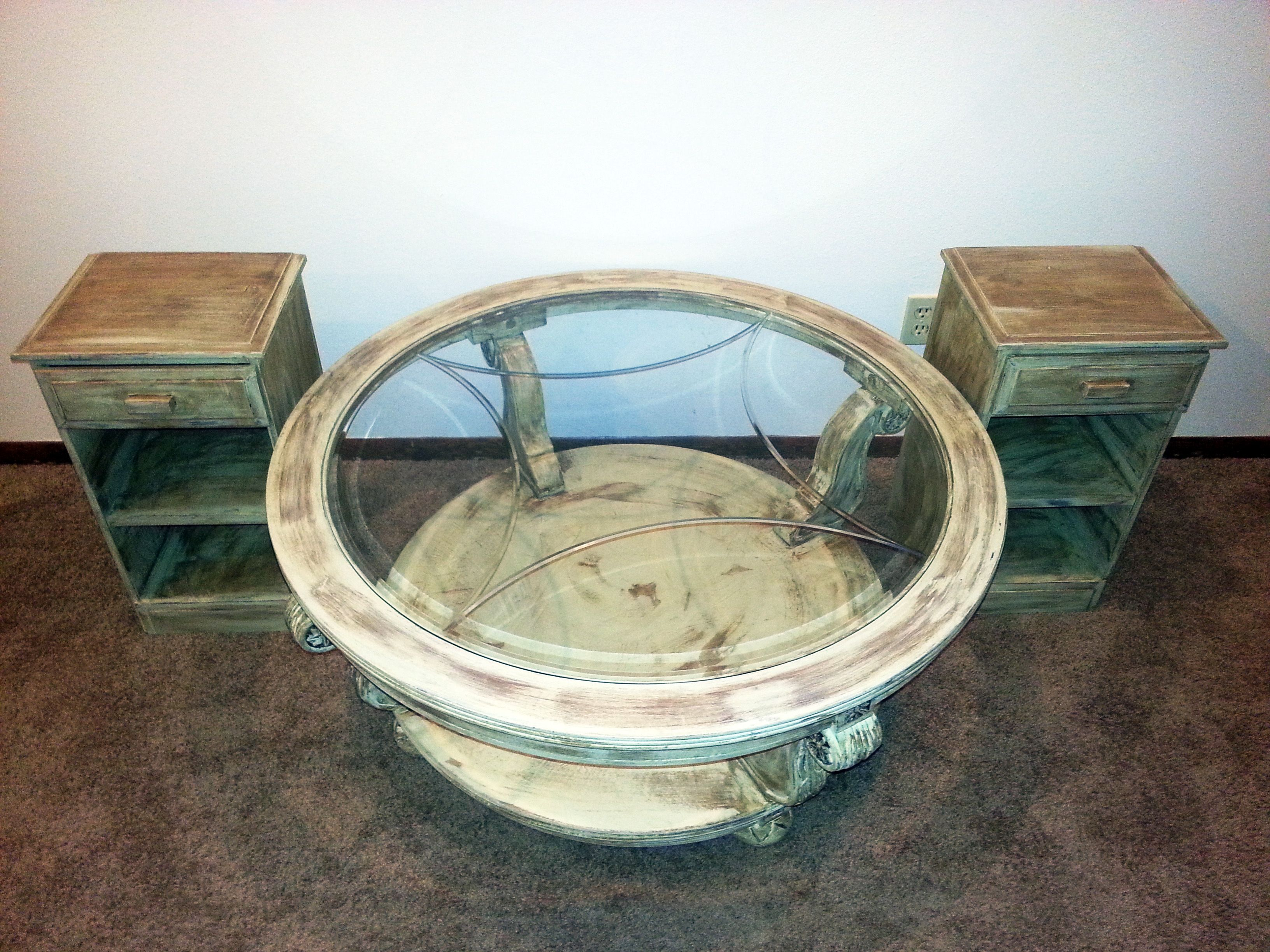 Distressed coffee table and 2 end tables for sale in Portland