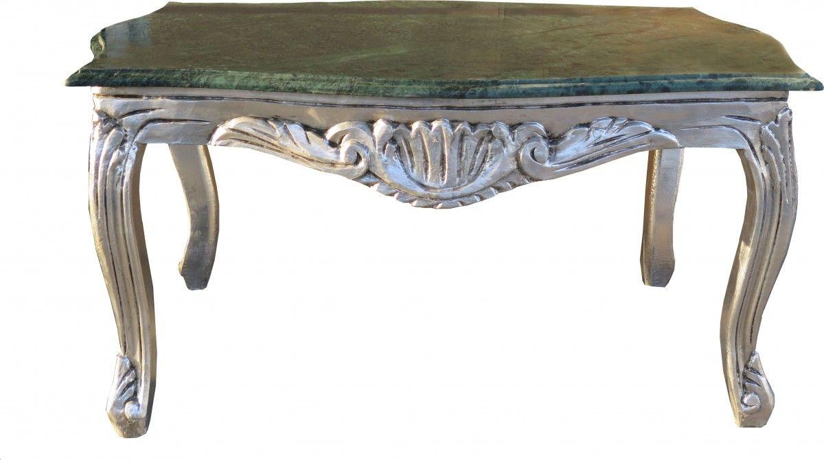 Casa Padrino Barock Couchtisch Silber Mit Grünfarbener Marmorplatte