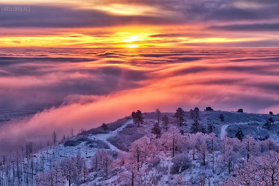 Sunrise above the Fog (01/13/2015).  This is today's sunrise over a completely fog-covered Colorado Springs. larsleber.net
