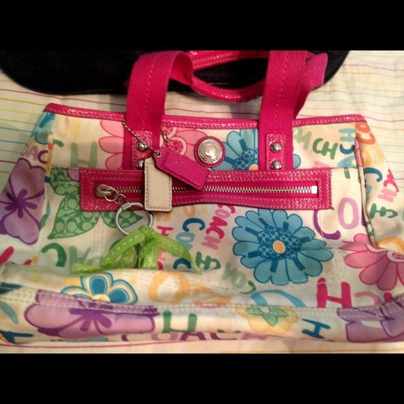 Small Coach Purse Colorful Small Purse With Bold Flowers On It