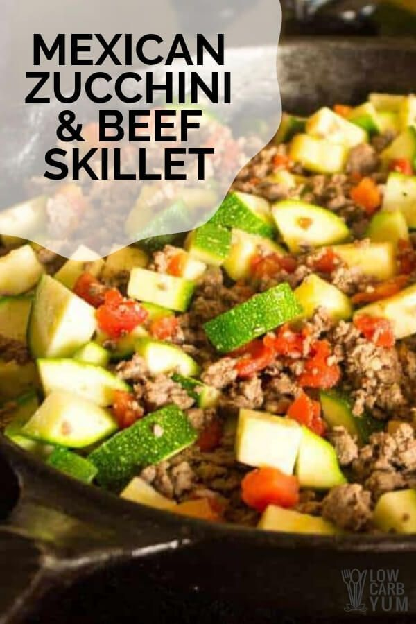 Zucchini and Beef Skillet Recipe with Tomato and Mexican Seasonings  zucchini recipes healthy  easy dinner skillet  dinner skillet recipe  ski