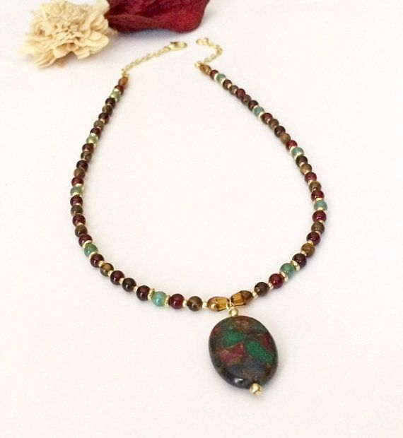Rainbow jasper pendant necklace beaded pendant necklace glass bead rainbow jasper pendant necklace beaded pendant necklace glass bead necklace with gemstone pendant christmas gift for aloadofball Gallery