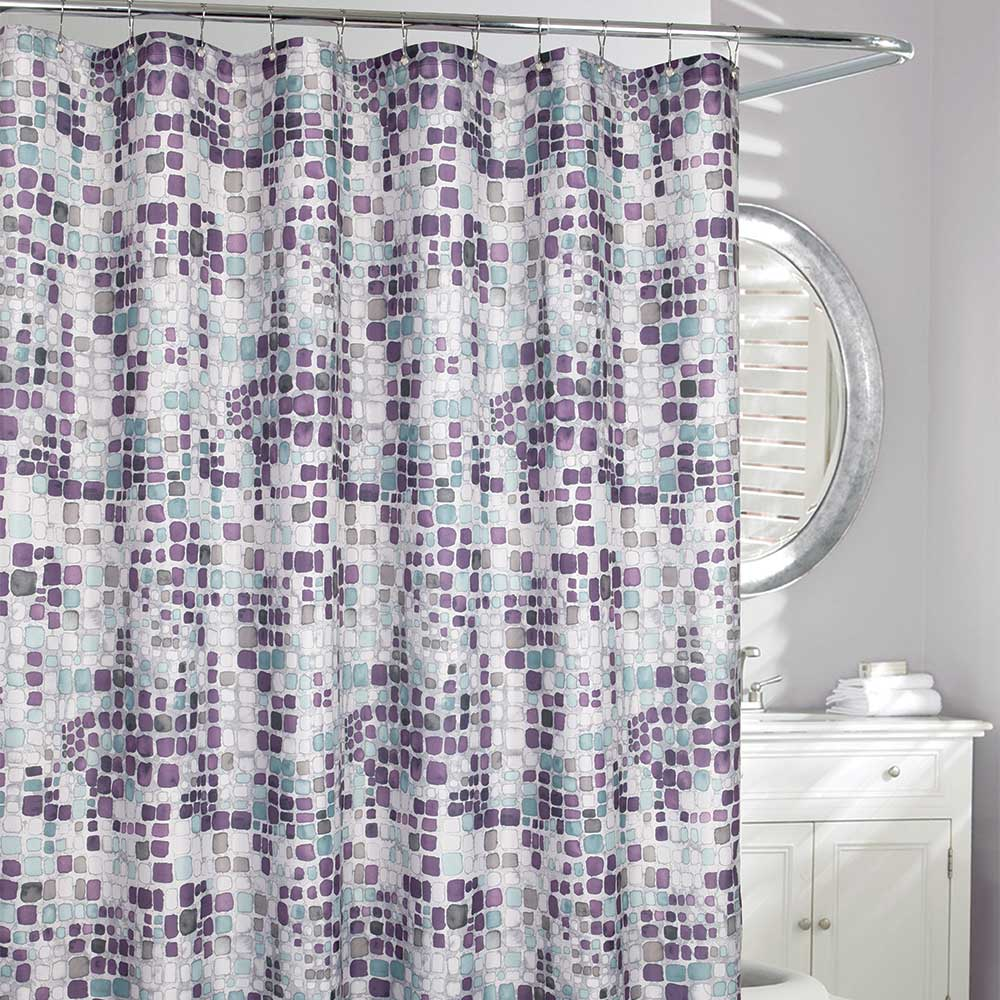 Seurat Blocks Fabric Shower Curtain Purple Shower Curtain