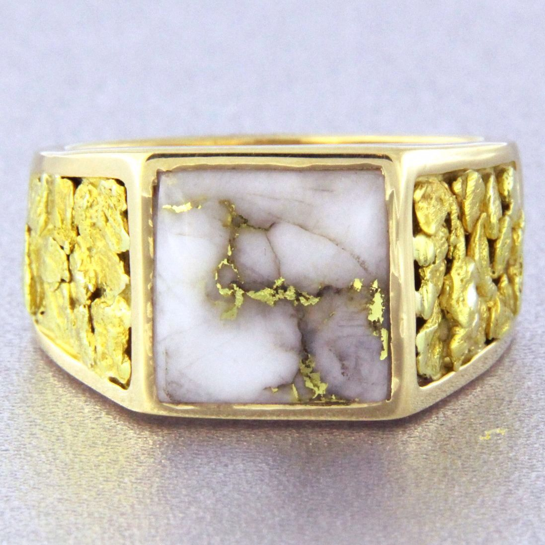 694a6ce8c7696 Natural Gold Quartz & Gold Nugget Men's Ring | Put A Ring On It ...