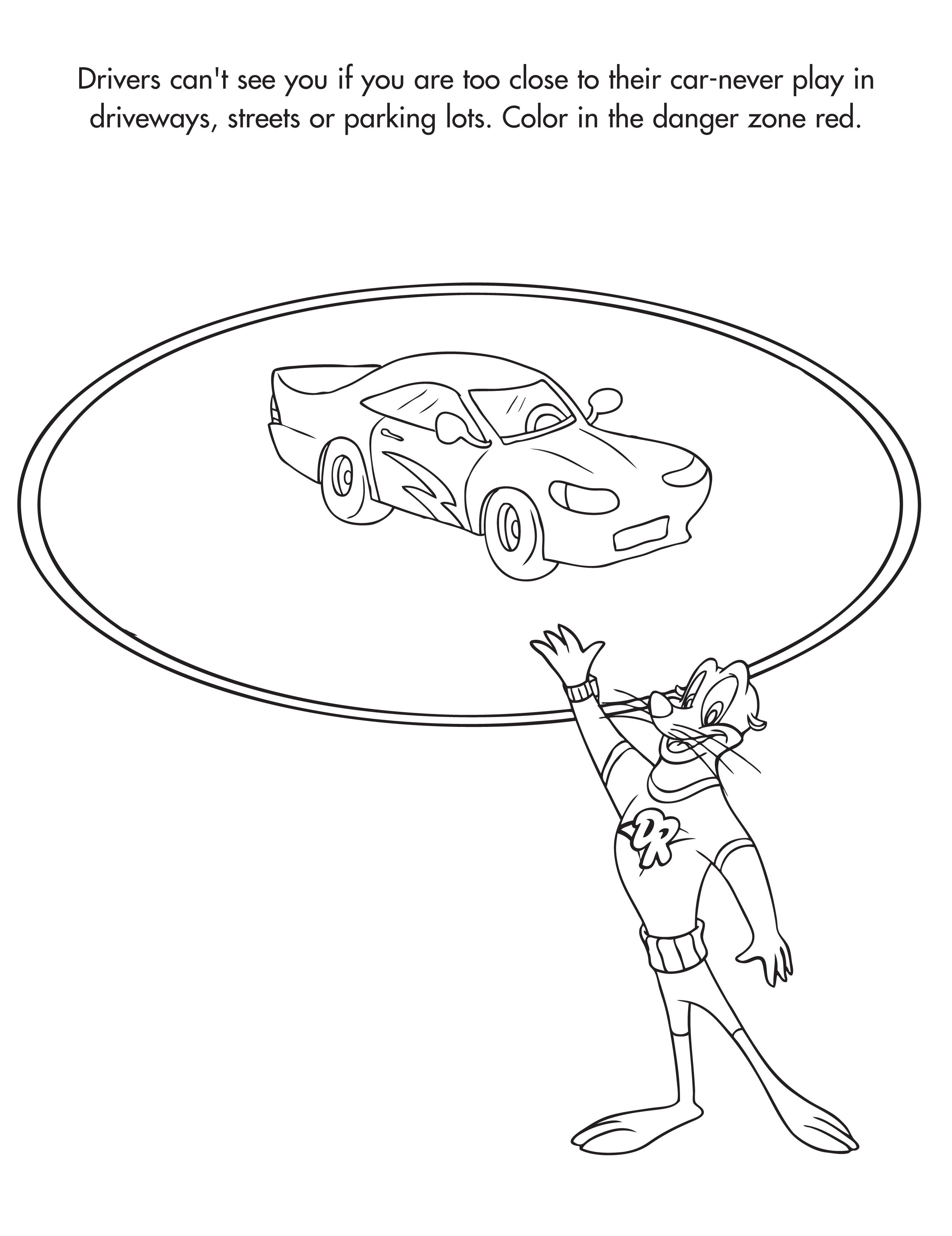 Color In The Danger Zone Freeprintable Carsafety Streetsafety Activity Sheets Street Safety Free Printables [ 3263 x 2513 Pixel ]