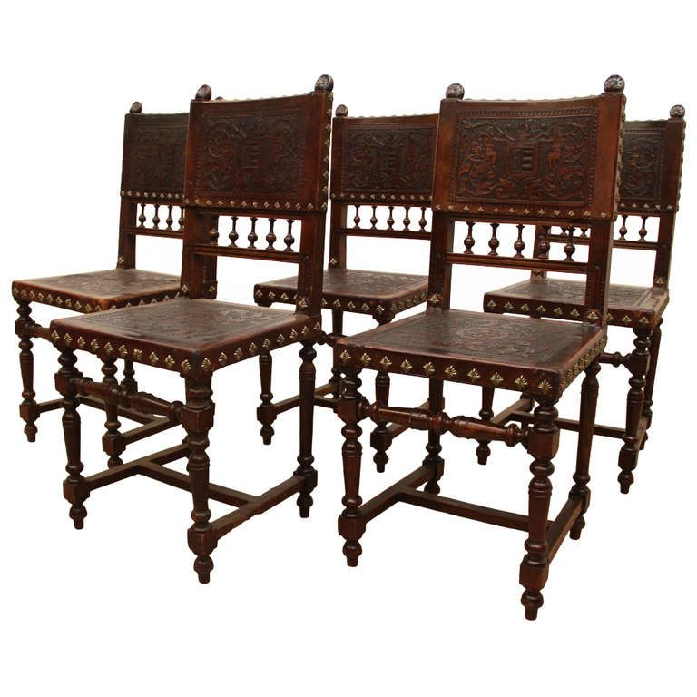 Baroque Spanish Revival Leather Dining Chairs From A Unique Collection Of Antique And Modern