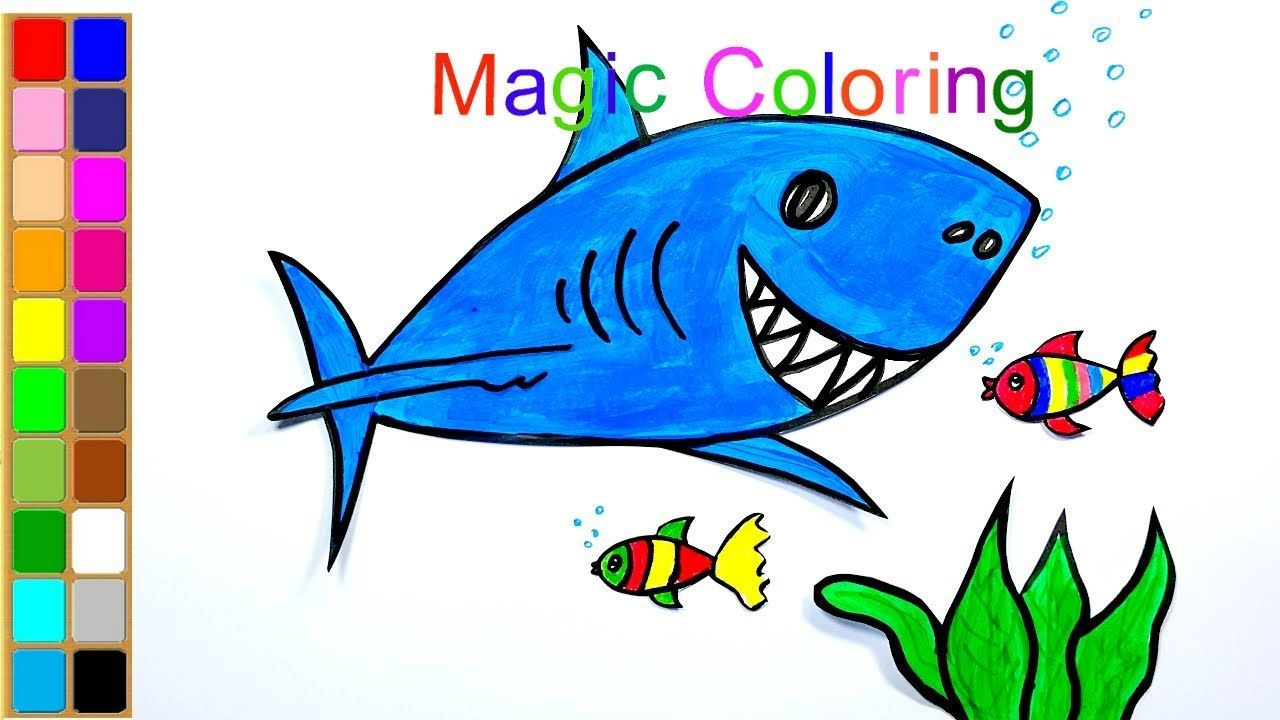 How To Draw A Shark For Kids Easy And Simple Coloring Drawing Video Shark Coloring Pages Shark Drawing Easy Easy Drawings For Kids
