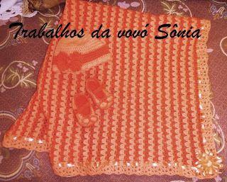 Trabalhos da vovó Sônia: Conjunto para bebê laranja 2 tons - crochê