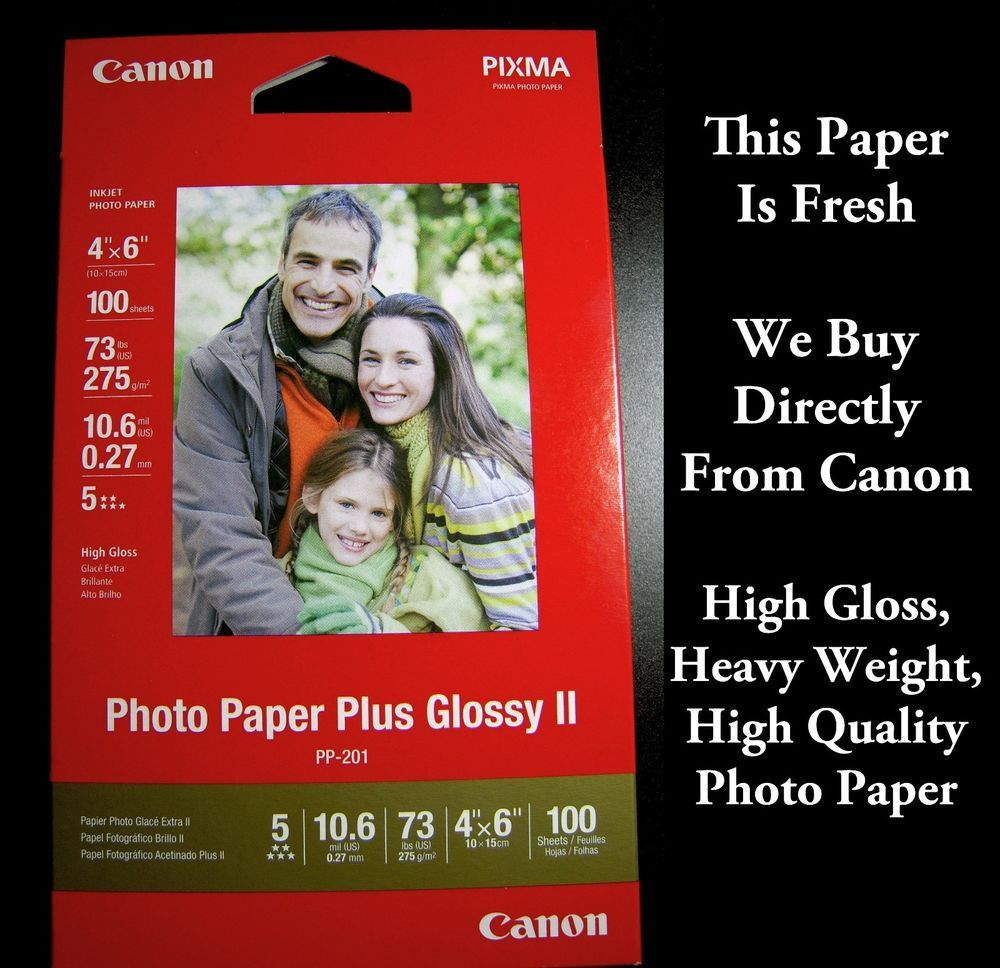 500 Sheets 4x6 Canon Pixma Inkjet Photo Paper Plus Glossy Ii 73lb