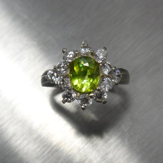0.85cts Sphene canary yellow ring Sterling .925 Silver by EVGAD, £36.99