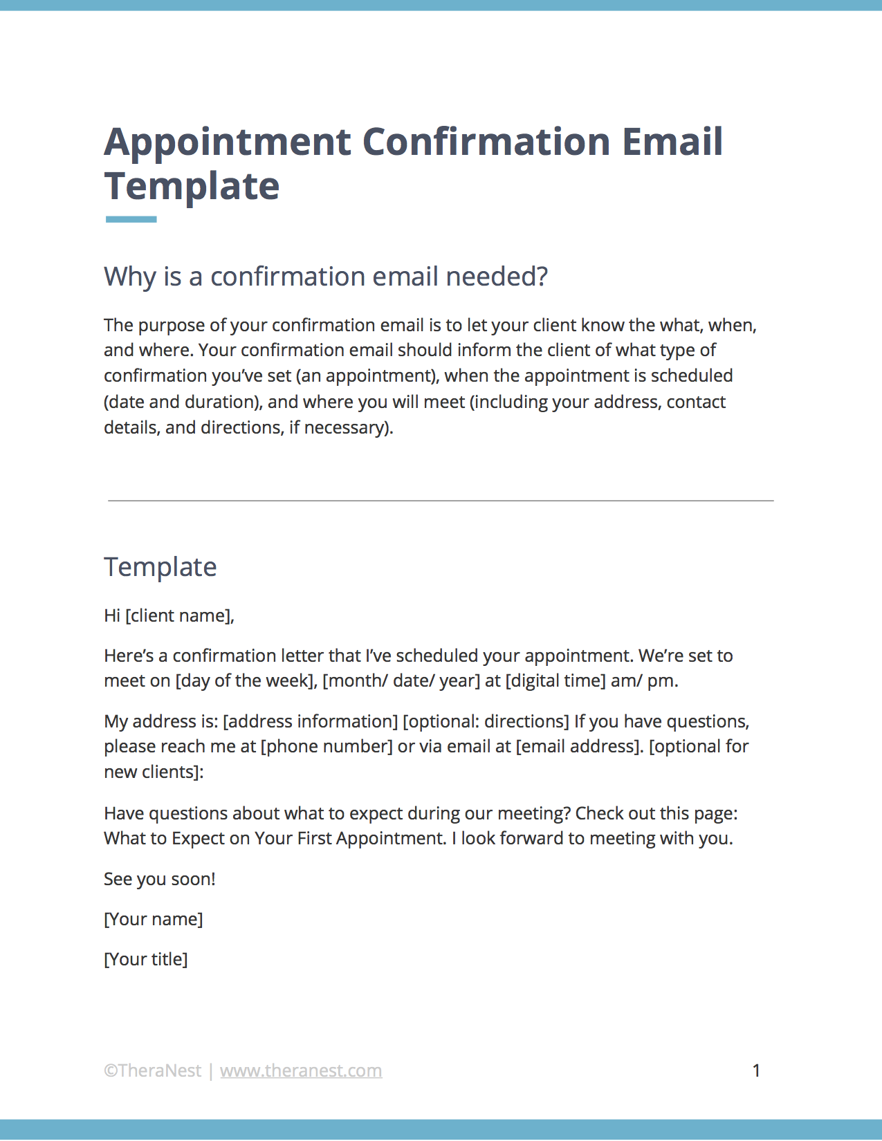 Appointment Confirmation Email Template for Therapists. | TheraNest ...