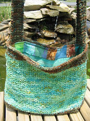Lined Tote Bag Knitting Pattern. Add pockets to the lining and a ...