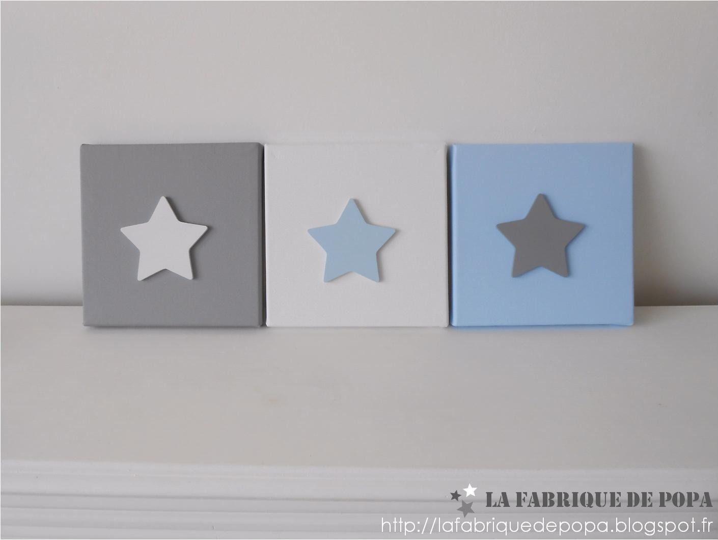 Triptyque 20x20 gris bleu et blanc Etoile décoration chambre enfant ...