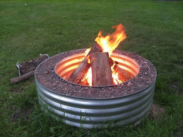 Galvanized And Rock Fire Pit Ring Fire Pits Ideas Backyard Fire Outdoor Fire Pit Garden Fire Pit