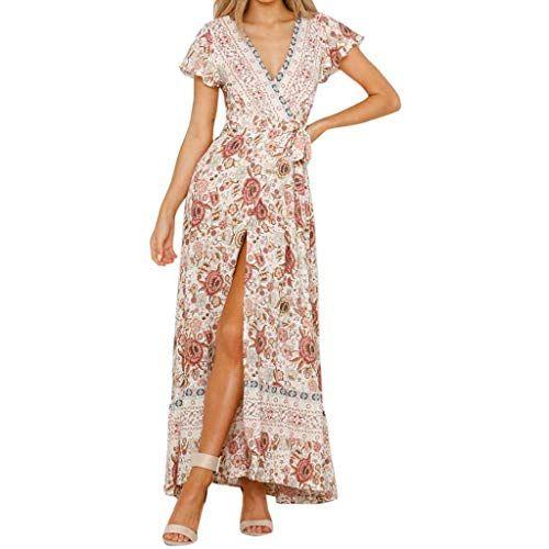 GRECERELLE Women's Casual Loose Pocket Long Dress Short
