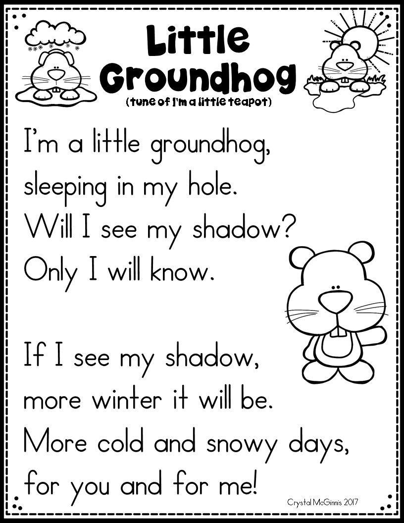 Groundhog Day Song Printable Groundhog Day Activities Preschool Songs Preschool Groundhog [ 1056 x 816 Pixel ]