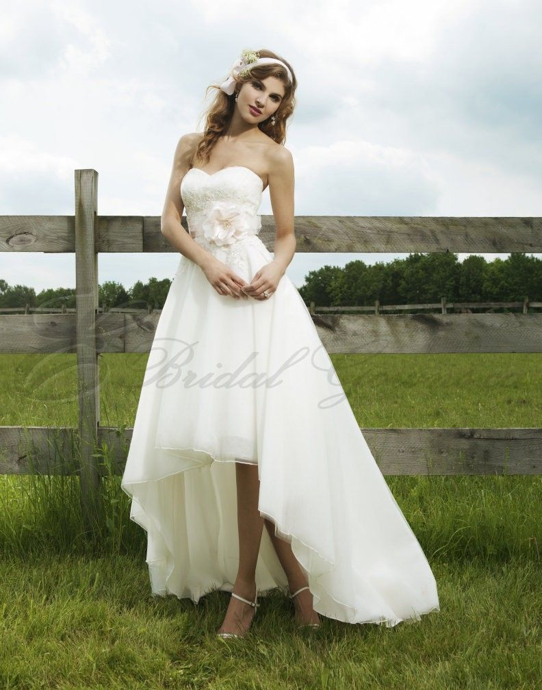 High low wedding dress high low strapless sweetheart for Free wedding dresses low income