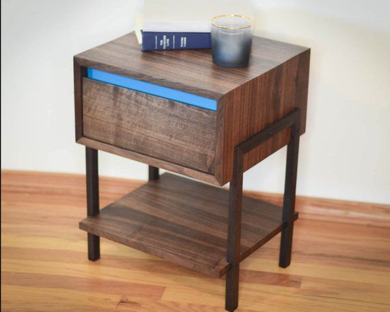 Walnut Side Table Night Stand Aqua Dovetailed Drawers Modern End Table Non Toxic Minimal Waterfall Table Solid Hardwood Modern End Tables End Tables Table