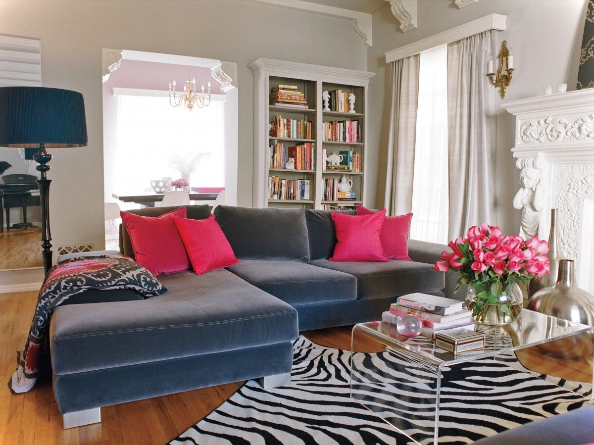 Living Room Ideas Marvelous Velvet Blue Couch On Zebras Carpet Feat Built In Bookshelves As Well Pink Cushion Decorate Gray