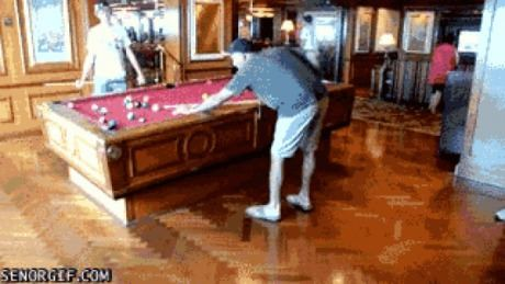 Gyroscopically Stabilized pool table on a cruise ship