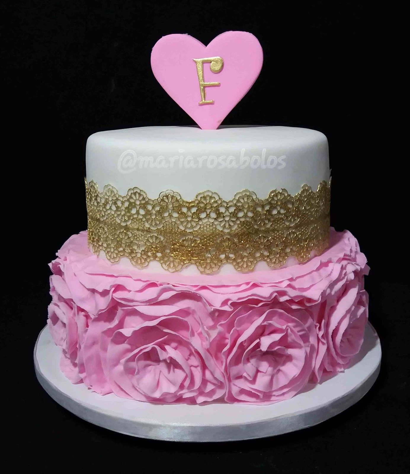 Ruffle cake  Pink and gold