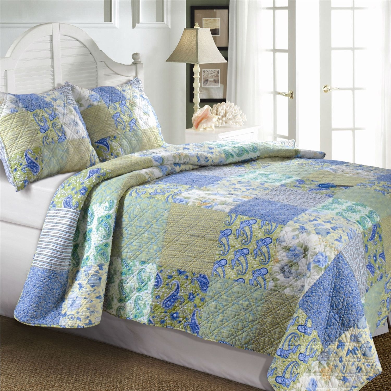 King Size Cotton Paisley Patchwork Quilt Set in Blue Green Yellow ... : cotton bed quilts - Adamdwight.com