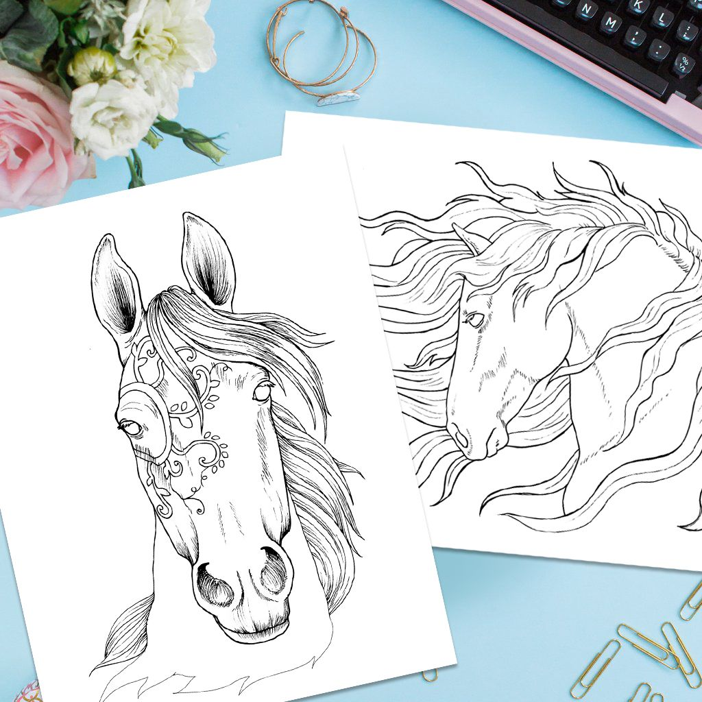 Free PDF Bonus Adult Coloring Pages Of Beautiful Horses For You To