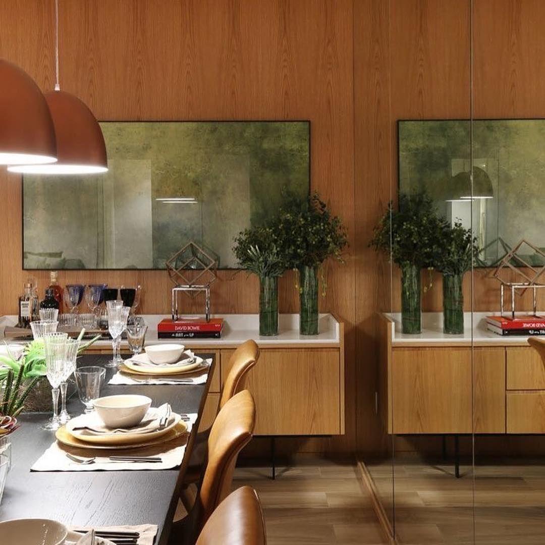 Repost Arqalessandragusmao Sala De Jantar Espelho Para  -> Sala De Jantar Com Painel De Madeira E Espelho