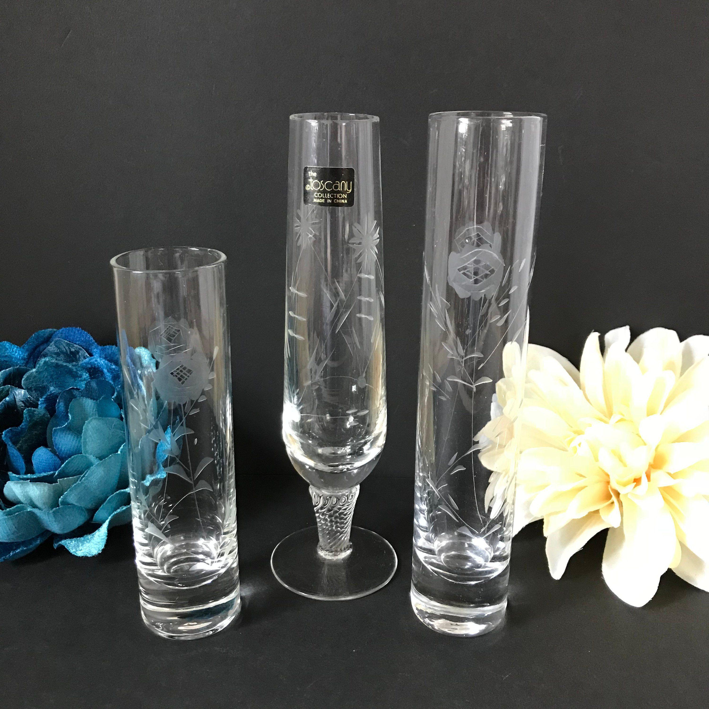 Etched Glass Bud Vases, Set Of 3, Vintage Flower Vase,