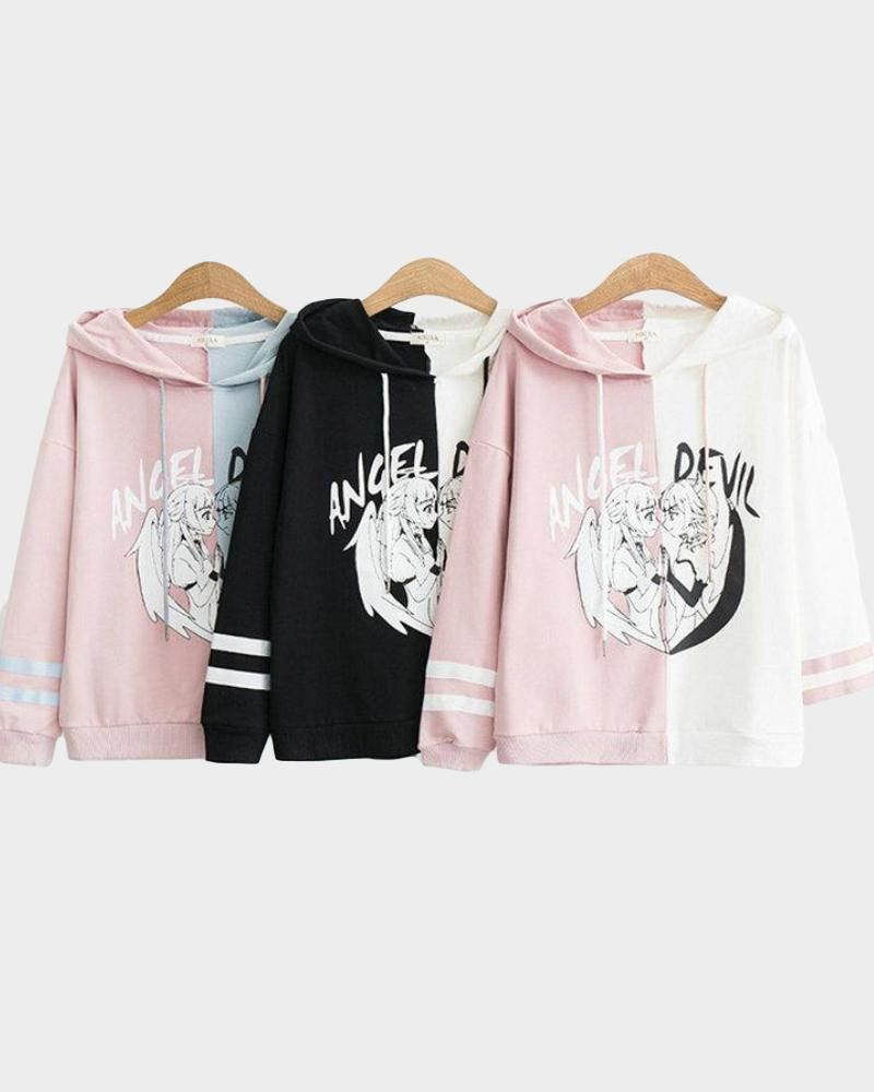 Photo of Women's Two-Tone Anime Angel & Devil Pullover Hoodie – Black / White / L