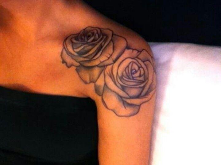 80c2da177 double rose on shoulder. | skin drawins. | Flower tattoo shoulder ...