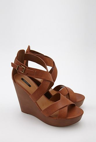 e4e58f2d42 Strappy Faux Leather Wedge Sandals- Camel- Forever 21- $24.90 ...
