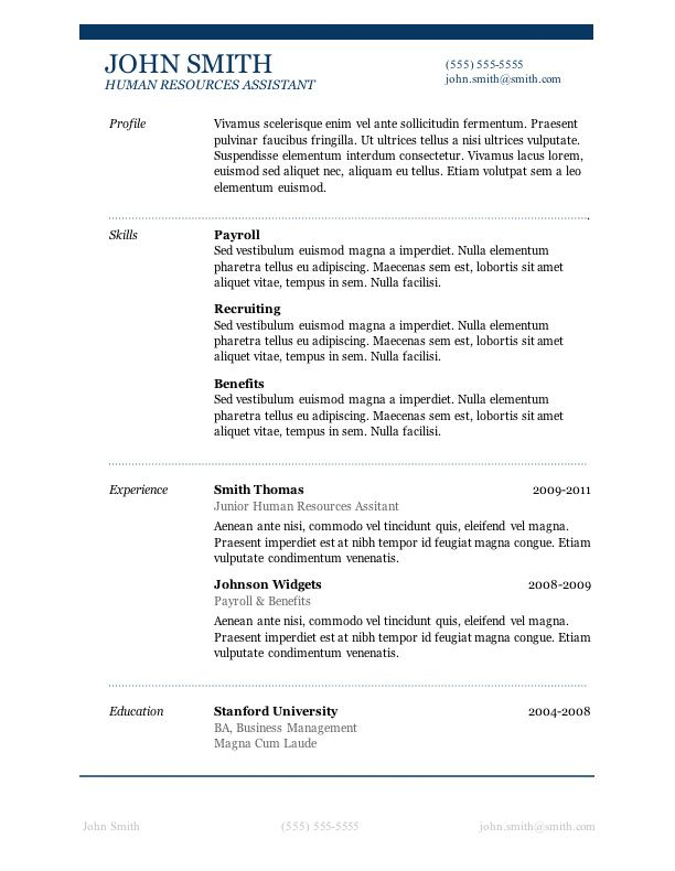 7 Free Resume Templates Sample resume, Template and Craft - hr benefits specialist sample resume
