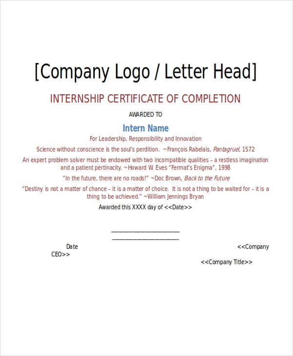 internship certificate template free word pdf document downloads - building completion certificate sample