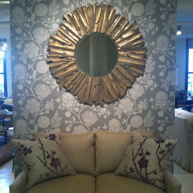 Motif Designs mirror, Harlequin wallpaper and pillow fabric, Patricia Edwards loveseat